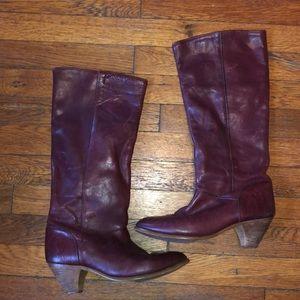 Frye vintage oxblood boots tall kitten heel 8.5 M